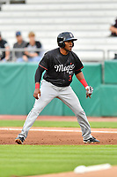 Birmingham Barons left fielder Luis Basabe (3) leads off first base during a game against the Tennessee Smokies at Smokies Stadium on May 15, 2019 in Kodak, Tennessee. The Smokies defeated the Barons 7-3. (Tony Farlow/Four Seam Images)