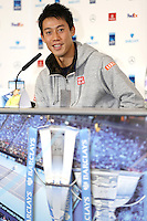 Kei Nishikori of Japan speaks to the press at Media Day before the start of the ATP World Tour Finals, The O2, London, 2015