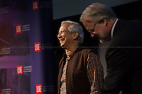 London 20/05/2013. Today, the LSE (London School of Economics) presented a public lecture called &quot;Banker to the Poor: Lifting Millions Out of Poverty through Social Business&quot; hosted by Professor Muhammad Yunus (Bangladeshi Professor of economics, he developed the concepts of microcredit and microfinance; in 2006 Yunus and Grameen Bank received the Nobel Peace Prize &quot;for their efforts through microcredit to create economic and social development from below&quot;; in 2010 he was awarded the U.S. Congressional Gold Medal in 2010). Chair of the event was Professor Craig Calhoun (American sociologist and Director of LSE).<br />