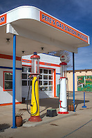 Pete's Route 66 Gas Station Museum in Williams Arizona,  is a homage to old time gas stations, part museum and part gift shop, specializing in a collection of gas station memorabilia, including old gas pumps, vintage oil cans, vintage signs and equipment. It's owned, operated and is being restored by Pete's son. It's been a station for a very long time but the current building was built in 1949. It operated as a gas station till 1989 when it ceased operation and the tanks were removed from the ground. It sat idle for several years but is now whipped back into presentable shape. Half of the garage is a museum and the other half is a gift shop.