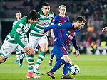 Lionel Andres Messi (r) of FC Barcelona competes for the ball with Marcos Acuna (l) and Rodrigo Battaglia of duringing CP during the UEFA Champions League 2017-18 match between FC Barcelona and Sporting CP at Camp Nou on 05 December 2017 in Barcelona, Spain. Photo by Vicens Gimenez / Power Sport Images