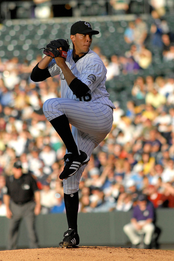 06 June 08: Colorado Rockies pitcher Ubaldo Jimenez winds up to deliver a pitch against the Milwuakee Brewers. The Rockies defeated the Brewers 6-4 at Coors Field in Denver, Colorado on June 6, 2008.