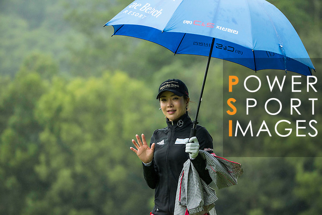 Shin-Ae AHN of South Korea tees off at the 14th hole during Round 1 of the World Ladies Championship 2016 on 10 March 2016 at Mission Hills Olazabal Golf Course in Dongguan, China. Photo by Victor Fraile / Power Sport Images