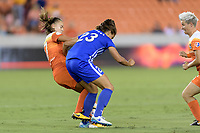 Houston, TX - Saturday July 22, 2017: Andressa Cavalari Machry and Katie Stengel during a regular season National Women's Soccer League (NWSL) match between the Houston Dash and the Boston Breakers at BBVA Compass Stadium.