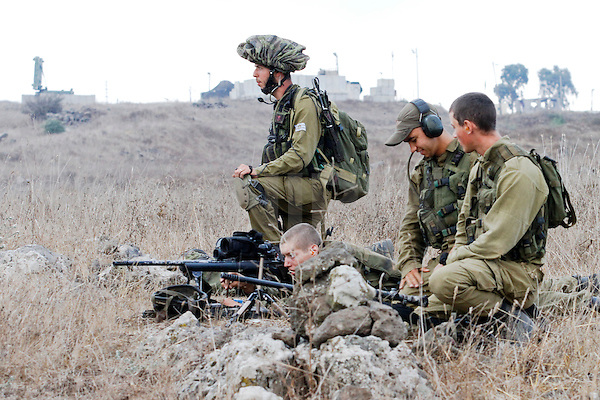Israeli Army combat forces during drill in the Golan Heigths 30 August 2011 Photo By: Ancho Gosh - JINIPIX