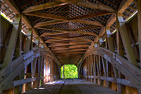 View inside the still-operating Cox Ford Bridge, built in 1918 by Joseph A. Britton, spanning over Sugar Creek in Parke County, Indiana, USA.