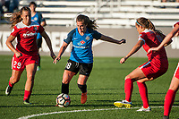 Kansas City, MO - Saturday May 27, 2017: Meggie Dougherty Howard, Alexa Newfield, Shelina Zadorsky during a regular season National Women's Soccer League (NWSL) match between FC Kansas City and the Washington Spirit at Children's Mercy Victory Field.