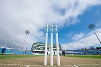 Picture by Allan McKenzie/SWpix.com - 20/04/2018 - Cricket - Specsavers County Championship - Yorkshire County Cricket Club v Nottinghamshire County Cricket Club - Emerald Headingley Stadium, Leeds, England - Stumps are set for Yorkshire's match against Nottinghamshire at Emerald Headingley.