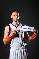 Dec. 16, 2011; Phoenix, AZ, USA; Phoenix Suns forward Marcin Gortat poses for a portrait during media day at the US Airways Center. Mandatory Credit: Mark J. Rebilas-