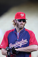 Washington Nationals outfielder Jayson Werth #28 before a game against the Los Angeles Dodgers at Dodger Stadium on July 23, 2011 in Los Angeles,California. Los Angeles defeated Washington 7-6.(Larry Goren/Four Seam Images)