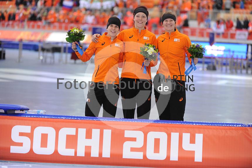 OLYMPICS: SOCHI: Adler Arena, 16-02-2014, Ladies' 1500m, podium, Ireen Wüst (NED),  Jorien ter Mors (NED), Lotte van Beek (NED), ©photo Martin de Jong