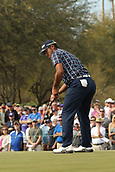 January 31st 2019, Scotsdale, Arizona, USA; Hideki Matsuyama putts on the 9th green during the first round of the Waste Management Phoenix Open