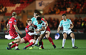 29th September 2017, Parc y Scarlets, Llanelli, Wales; Guinness Pro14 Rugby, Scarlets versus Connacht; Bundee Aki of Connacht is tackled as he attempts to break the Scarlets line