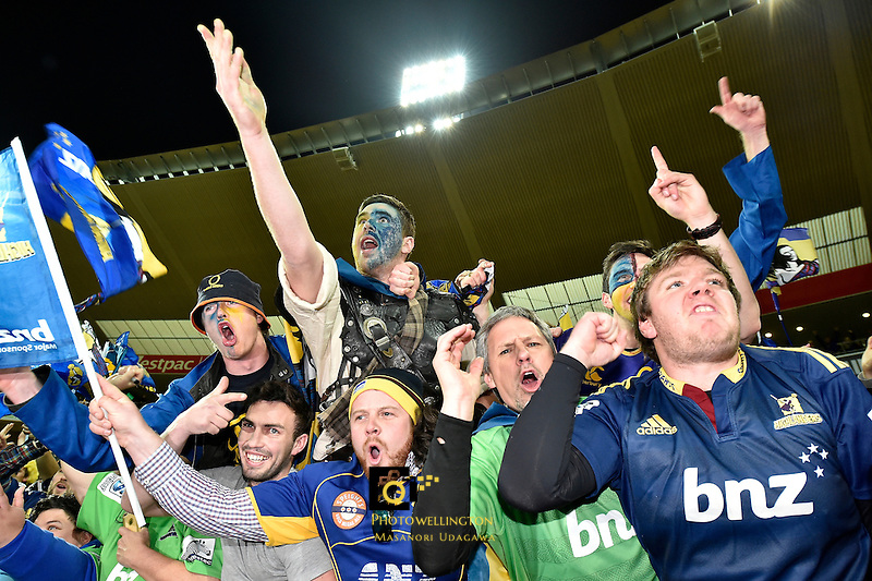 Highlanders Fans celebrate at the Super Rugby Final - Hurricanes v Highlanders at Westpac Stadium, Wellington, New Zealand on Saturday 4 July 2015.<br /> Photo by Masanori Udagawa. <br /> www.photowellington.photoshelter.com.