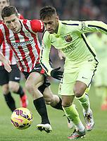 Atletic de Bilbao's Oscar de Marcos (l) and FC Barcelona's Neymar Santos Jr during La Liga match.February 8,2015. (ALTERPHOTOS/Acero) /NORTEphoto.com