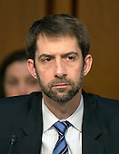 United States Senator Tom Cotton (Republican of Arkansas) listens as witnesses are questioned during an open hearing held by the US Senate Select Committee on Intelligence to examine worldwide threats on Capitol Hill in Washington, DC on Tuesday, February 9, 2016.<br /> Credit: Ron Sachs / CNP