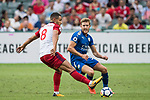 Leicester City FC defender Callum Elder (R) fights for the ball with West Bromwich Albion midfielder Jake Livermore (L)  during the Premier League Asia Trophy match between Leicester City FC and West Bromwich Albion at Hong Kong Stadium on 19 July 2017, in Hong Kong, China. Photo by Weixiang Lim / Power Sport Images