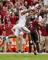 Hawgs Illustrated/BEN GOFF <br /> Chris Lammons (3), South Carolina cornerback, breaks up a pass intended for Arkansas tight end Jeremy Patton in the first half Saturday, Oct. 7, 2017, at Williams-Brice Stadium in Columbia, S.C.