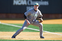 Marshall Thundering Herd first baseman TJ Diffenderfer (44) on defense against the Georgetown Hoyas at Wake Forest Baseball Park on February 15, 2014 in Winston-Salem, North Carolina.  The Thundering Herd defeated the Hoyas 5-1.  (Brian Westerholt/Four Seam Images)