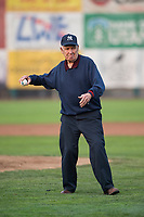 A war veteran throws a ceremonial pitch between innings during a Pioneer League game between the Ogden Raptors and the Great Falls Voyagers at Lindquist Field on August 23, 2018 in Ogden, Utah. The Ogden Raptors defeated the Great Falls Voyagers by a score of 8-7. (Zachary Lucy/Four Seam Images)