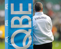 Stuart Lancaster, England Team Manager,looks on before the QBE Autumn International match for the Cook Cup between England and Australia at Twickenham on Saturday 2nd November 2013 (Photo by Rob Munro)