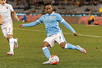 Melbourne, 21 July 2015 - Raheem Sterling of Manchester City kicks the ball in game two of the International Champions Cup match at the Melbourne Cricket Ground, Australia. City def Roma 5-4 in Penalties. (Photo Sydney Low / AsteriskImages.com)