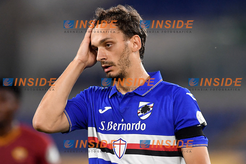 Manolo Gabbiadini of UC Sampdoria reacts during the Serie A football match between AS Roma and UC Sampdoria at Olimpico stadium in Rome ( Italy ), June 24th, 2020. Play resumes behind closed doors following the outbreak of the coronavirus disease. AS Roma won 2-1 over UC Sampdoria. <br /> Photo Andrea Staccioli / Insidefoto