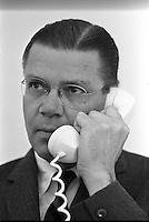01/10/1964 - United States Secretary of Defense Robert McNamara on the telephone at the White House.<br /> Robert Strange McNamara (born June 9, 1916) is an American business executive and a former United States Secretary of Defense. McNamara served as U.S. Secretary of Defense from 1961 to 1968, during the Vietnam War. After holding that position he became President of the World Bank (1968-1981). McNamara was responsible for the institution of systems analysis in public policy, which developed into the discipline known today as policy analysis.[1]