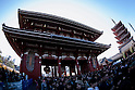 Crowds gather for New Year's first prayers at Sensoji temple
