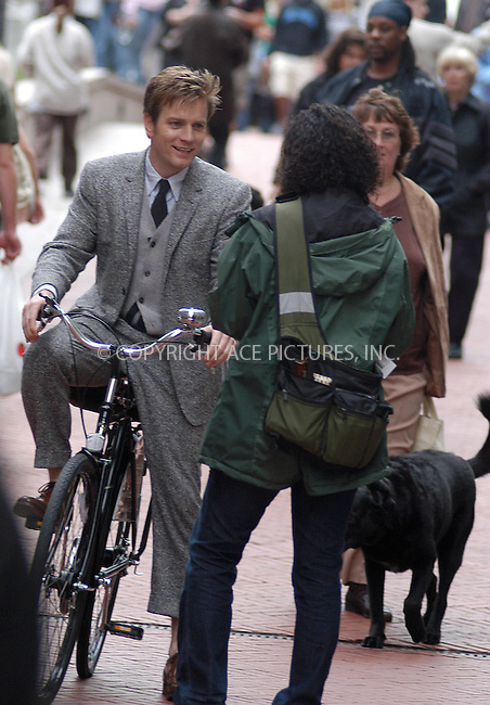 """Ewan McGregor on the set of his latest film, """"Stay."""" New York, September 29, 2003. Please byline: NY Photo Press.   ..*PAY-PER-USE*      ....NY Photo Press:  ..phone (646) 267-6913;   ..e-mail: info@nyphotopress.com"""