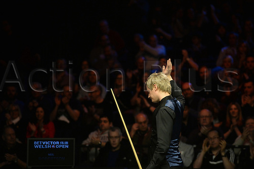 20.02.2016. Cardiff Arena, Cardiff, Wales. Bet Victor Welsh Open Snooker. Mark Allen versus Neil Robertson. Neil Robertson waves to the crowd after overcoming Mark Allen.