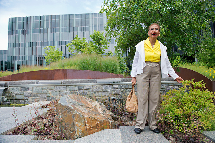 UNITED STATES - JULY 22: Del. Eleanor Holmes Norton, D-D.C., tours the new Coast Guard headquarters which will open next month at St. Elizabeths West Campus in Anacostia. (Photo By Tom Williams/CQ Roll Call)