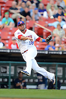 Buffalo Bisons third baseman Mauro Gomez #18 throws to first for the out during a game against the Durham Bulls on June 24, 2013 at Coca-Cola Field in Buffalo, New York.  Durham defeated Buffalo 7-1.  (Mike Janes/Four Seam Images)