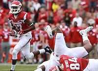 Arkansas Democrat-Gazette/BENJAMIN KRAIN --10/24/2015--<br /> Arkansas wide receiver Dominique Reed (87) scores a touchdown on the Razorback first drive of their game against Auburn in Fayetteville on Saturday.