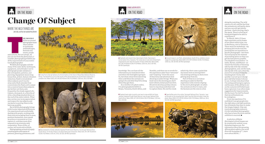 "May 2014 Shutterbug Magazine contains Blaine Harrington's bi-monthly column ""On the Road"", this one titled ""Change of Subject"". The column discusses photographing wildlife and in particular, shooting on safari in Africa"
