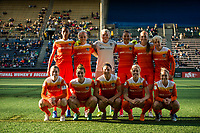 Seattle, WA - Saturday April 22, 2017: Houston Dash starting eleven during a regular season National Women's Soccer League (NWSL) match between the Seattle Reign FC and the Houston Dash at Memorial Stadium.