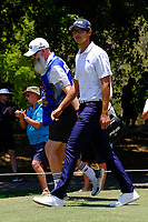 Johannes Veerman (USA) and his caddy Nick Pugh on the 2nd tee during round 1 of the Australian PGA Championship at  RACV Royal Pines Resort, Gold Coast, Queensland, Australia. 19/12/2019.<br />
