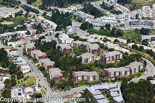 aerial photograph Diamond Heights Village residential neighborhood San Francisco California