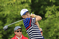 Jordan Spieth US Team tees off the 10th tee during Thursday's Practice Day of the 41st RyderCup held at Hazeltine National Golf Club, Chaska, Minnesota, USA. 29th September 2016.<br /> Picture: Eoin Clarke | Golffile<br /> <br /> <br /> All photos usage must carry mandatory copyright credit (&copy; Golffile | Eoin Clarke)