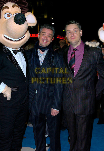 """SAM FELL & DAVE BOWERS.The premiere of """"Flushed Away"""" at the Empire, Leicester Square, London, UK..November 23rd, 2006.half length blue black pinstripe jacket .CAP/CAN.©Can Nguyen/Capital Pictures"""