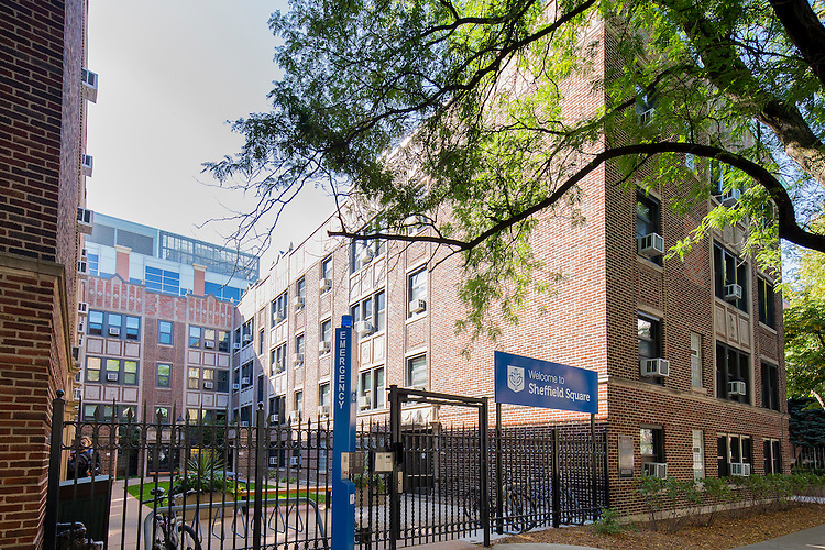 DePaul University's Sheffield Square features apartments with full kitchens, living rooms and private bathrooms, as well as individually controlled air-conditioning units. September 23, 2014. (DePaul University/Jeff Carrion)