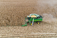63801-12609 Harvesting corn in fall-aerial  Marion Co. IL