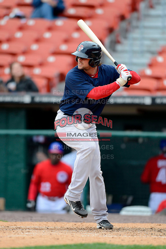 Pawtucket Red Sox third baseman Mark Hamilton #40 during the second game of a doubleheader against the Buffalo Bisons on April 25, 2013 at Coca-Cola Field in Buffalo, New York.  Buffalo defeated Pawtucket 4-0.  (Mike Janes/Four Seam Images)