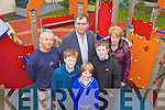 Brian, Eoin Foyle, Cllr Michael Cahill, Darragh Foyle, Cahir Conway and Geraldine Foyle who are worried about the anti social behavior in the playground in Killorglin on Monday..