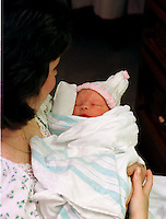 Loretta Blizzard looks at new her daughter Shae Lynn , at Holy Redeemer Hospital in Abington Pa.Wednesday,  October 2, 1996.  Shae Lynn Blizzard was born October 1st, 1996, at Holy Redeemer Hospital in Abington, PA. To Loretta, and Edward Blizzard of Philadelphia, PA.  She was conceived during the Blizzard of 1996. (HANDOUT FROM HOLY REDEEMER HOSPITAL).