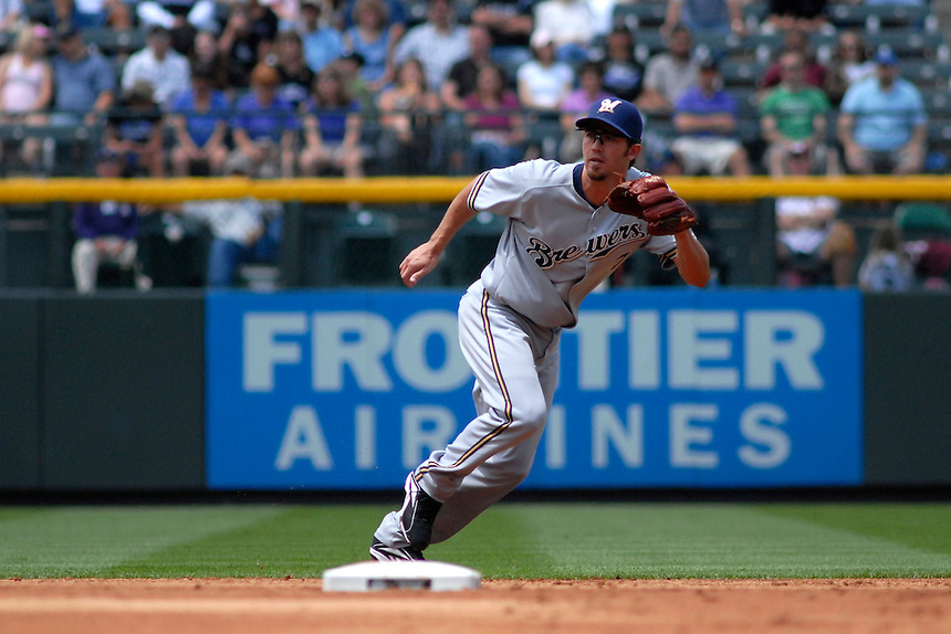 08 June 08: Milwuakee Brewers shortstop J.J. Hardy moves to field a play against the Colorado Rockies. The Brewers defeated the Rockies 3-2 at Coors Field in Denver, Colorado. For EDITORIAL use only