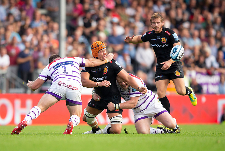 Exeter Chiefs' Ollie Atkins in action during todays match<br /> <br /> Photographer Bob Bradford/CameraSport<br /> <br /> Gallagher Premiership - Exeter Chiefs v Leicester Tigers - Saturday September 1st 2018 - Sandy Park - Exeter <br /> <br /> World Copyright © 2018 CameraSport. All rights reserved. 43 Linden Ave. Countesthorpe. Leicester. England. LE8 5PG - Tel: +44 (0) 116 277 4147 - admin@camerasport.com - www.camerasport.com