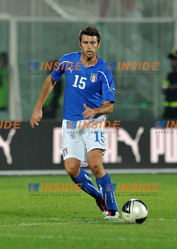 """Andrea BARZAGLI (Italia).Pescara 11/10/2011 Stadio """"Adriatico"""".Qualificazione Europero 2011/2012.Football Calcio Serbia Vs Italia .Foto Insidefoto Alessandro Sabattini."""