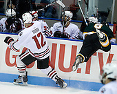 Steve Morra (NU - 12), Scott Judson (St. Thomas - 6) - The Northeastern University Huskies defeated the St. Thomas Tommies 7-5 in their exhibition match on Saturday, October 3, 2009, at Matthews Arena in Boston, Massachusetts.