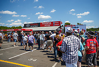 Jun 9, 2017; Englishtown , NJ, USA; NHRA fans at the Toyota Pit Pass display on the midway during qualifying for the Summernationals at Old Bridge Township Raceway Park. Mandatory Credit: Mark J. Rebilas-USA TODAY Sports